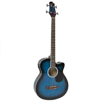 Custom Electric Acoustic Bass Guitar Blue With Equalizer Solid Construction New
