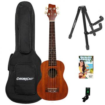 Custom Sawtooth Mahogany Tenor Ukulele with Quick Start Guide & ChromaCast Accessories