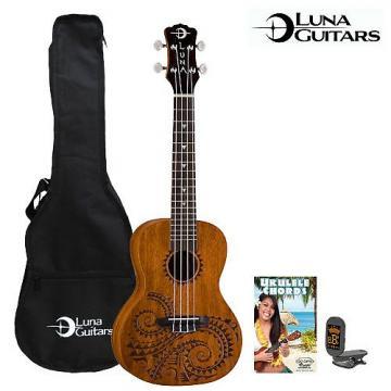 Custom Luna Guitars Tattoo Concert Ukulele (UKE-TC-MAH) with Gig Bag, Tuner, GoDpsMusic Cleaning Cloth & GoDpsMusic Instruction Guide