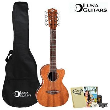 Custom Luna Guitars 8-String Tenor (UKE-HTT8) Electric Ukulele Kit - Includes: Gig Bag, Instruction Booklet, Cloth & Tuner