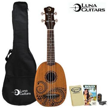 Custom Luna Guitars Tattoo Soprano Ukulele (UKE-TATTOO) with Gig Bag, Tuner, GoDpsMusic Cleaning Cloth & GoDpsMusic Instruction Guide