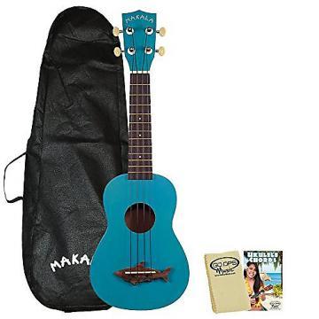 Custom Kala Makala MK-SS Shark Soprano Ukulele Mako Blue with Kala Bag, GoDpsMusic Ukulele Chord Guide and Polish Cloth