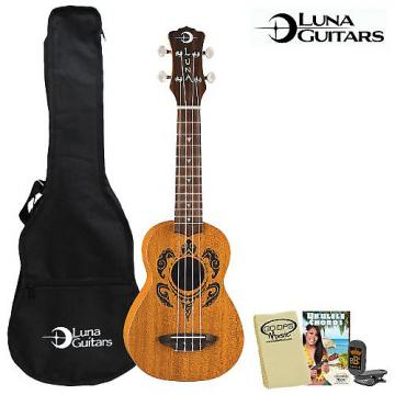 Custom Luna Guitars Honu Soprano (UKE-HONU) Ukulele Kit - Includes: Gig Bag, Quick Start Chord Guide, Cloth & Tuner