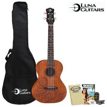 Custom Luna Guitars Tattoo Tenor (UKE-TT-MAH) Ukulele Kit - Includes: Gig Bag, Instruction Booklet, Cloth & Tuner