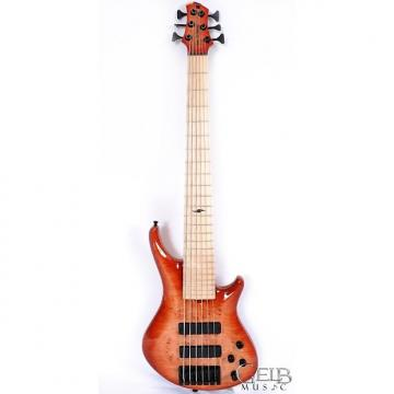 Custom Roscoe SKB Custom 6 Electric Bass Guitar, Swamp Ash Body AAAA Quilt Maple Top, Sienna Burst - S6661