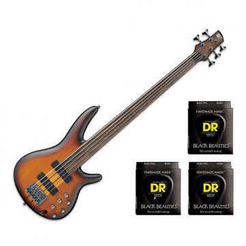 Custom Ibanez SRF705BBF Portamento Fretless 5-String - Brown Burst Flat w/3 Sets DR Strings BKB545