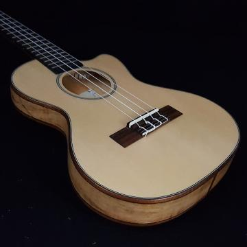 Custom KALA KA-SSTU-SMT-C Solid Spruce Top Spalted Maple Cutaway Tenor Ukulele w/ Bag
