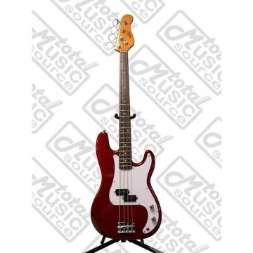 Custom Oscar Schmidt by Washburn P-Style Electric Bass Guitar, Trans Red, OSB-400C TR
