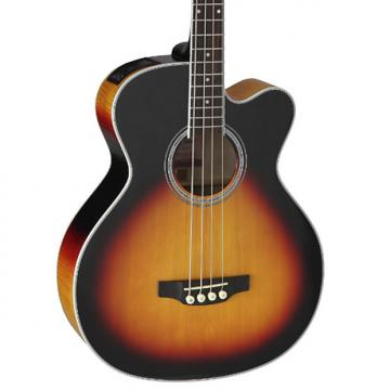 Custom Takamine GB72CE-BSB Jumbo Acoustic Electric Bass Guitar, Black Sunburst