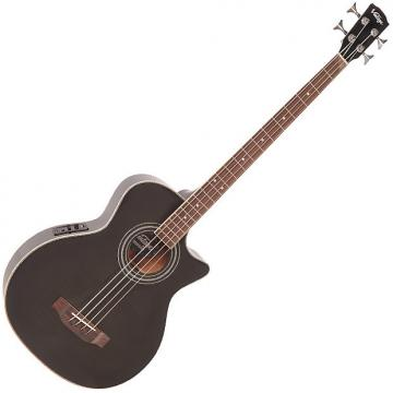 Custom Vintage VCB430TBK Black Acoustic Bass Guitar