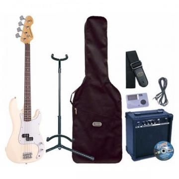Custom Encore E4 Bass Guitar Outfit, Vintage White