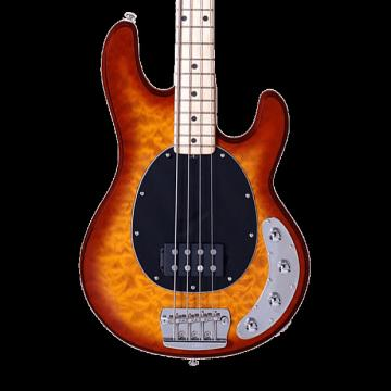 Custom Sterling by Music Man Ray34 Quilt Maple Bass - Honey Burst with Gig Bag