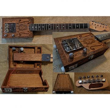 Custom Handmade Engraved Mahogany Body Carl's Custom Deluxe 6 String Opening Body Electric Cigar Box Guitar