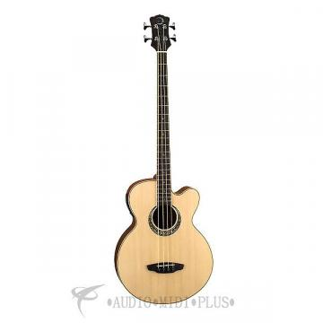 Custom Luna Muse Acoustic Electric 4 Strings Bass Guitar Satin Natural - MUSBASS-U - 00819998032708