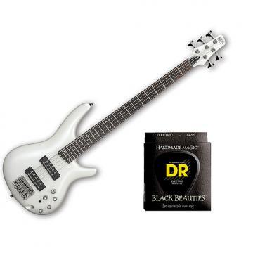 Custom Ibanez SR305E 5 String Pearl White w/Set DR Strings BKB545