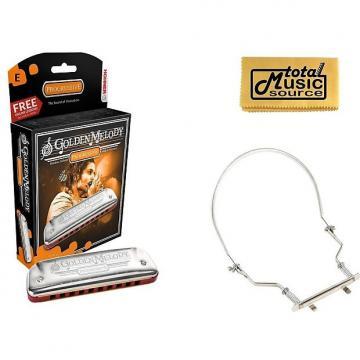 Custom HOHNER Golden Melody Harmonica, Key E, Made in Germany, Case & Harmonica Holder, 542BL-E PACK