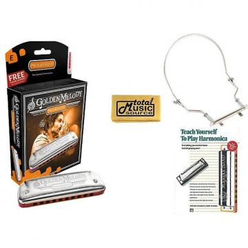Custom HOHNER Golden Melody Harmonica, Key E, Made in Germany, Case, Harmonica Holder, & Book, 542BL-E COMP