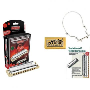Custom HOHNER Marine Band THUNDERBIRD Harmonica, Key LOW C, Germany, Case, Book, & Harmonica Holder, M2011L-C COMP