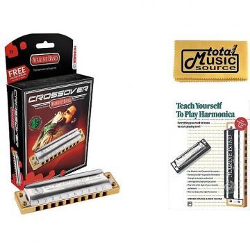 Custom HOHNER Marine Band CROSSOVER Harmonica, Key of Eb, Made in Germany, Case & Book, M2009BL-EF BK