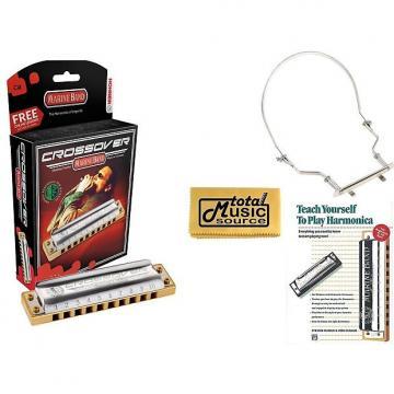 Custom HOHNER Marine Band CROSSOVER Harmonica, Key C#, Diatonic w/ Case, Harmonica Holder, Book, M2009BL-C# COMP