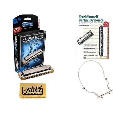Custom HOHNER Blues Harp MS Harmonica Key Eb, Made in Germany, Case, Book, & Harmonica Holder, 532BL-EF COMP
