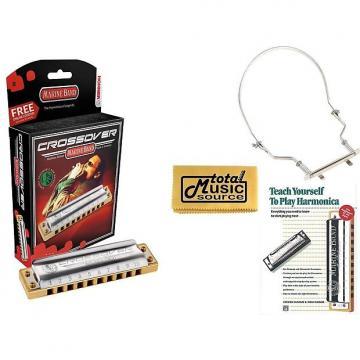 Custom HOHNER Marine Band CROSSOVER Harmonica, Key of B, Made in Germany, Harmonica Holder & Book, M2009BL-B COMP