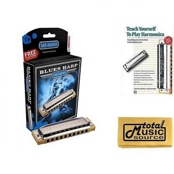 Custom HOHNER Blues Harp MS Harmonica Key C#, Made in Germany, Includes Case & Book, 532BL-C# BK