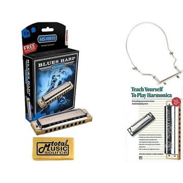 Custom HOHNER Blues Harp MS Harmonica Key C#, Made in Germany, Includes Case, Book, & Harmonica Holder, 532BL-C# COMP