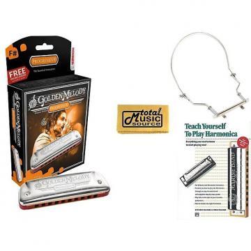 Custom Hohner Golden Melody Harmonica, Key of F#, Case, Harmonica Holder, & Book, 542BL-F# COMP