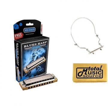 Custom HOHNER Blues Harp MS Harmonica Key F, Made in Germany, Case & Harmonica Holder, 532BL-F PACK