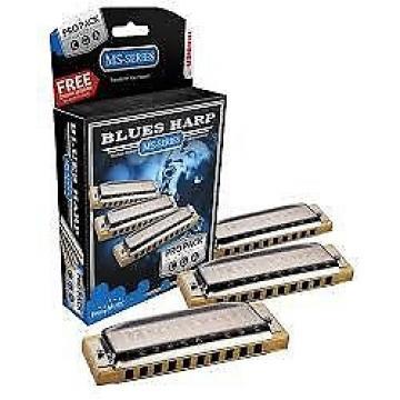 Custom HOHNER Blues Harp MS Harmonica PRO-PACK, 3 Keys: G-A-C, 3P532
