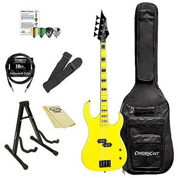 Custom Dean Guitars CZONE BASS YEL Custom Zone Bass Guitar Kit with ChromaCast Accessories, Yellow