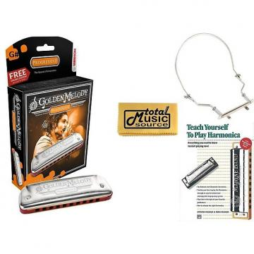 Custom HOHNER Golden Melody Harmonica, Key G#, Made In Germany, Includes Case, Harmonica Holder, & Book, 542BL-G# COMP