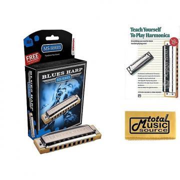Custom HOHNER Blues Harp MS Harmonica Key Bb, Diatonic, Includes Case & Book, 532BL-BF BK