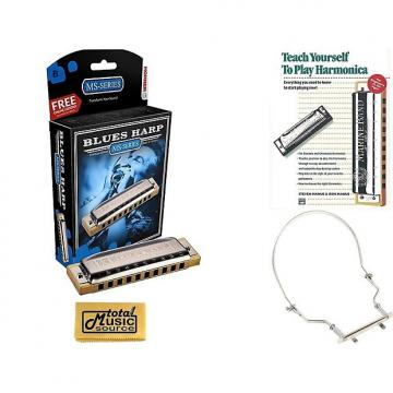 Custom HOHNER Blues Harp MS Harmonica Key Bb, Diatonic, Includes Case, Harmonica Holder, & Book, 532BL-BF COMP