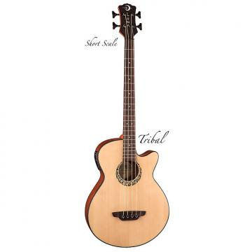 "Custom LUNA Tattoo Spruce 30"" SCALE 4-string acoustic BASS guitar NEW -Tribal Rosette"