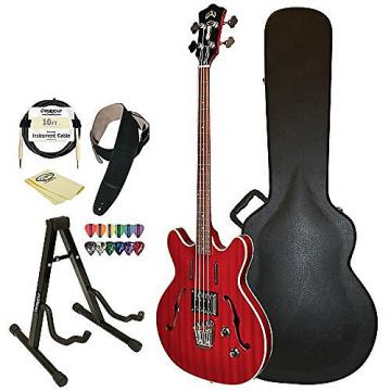 Custom Guild Cherry Red Starfire Semi-Hollow Electric Bass Guitar Guild Hard Case, Cable, Strap, Picks, Stand and Polish Cloth