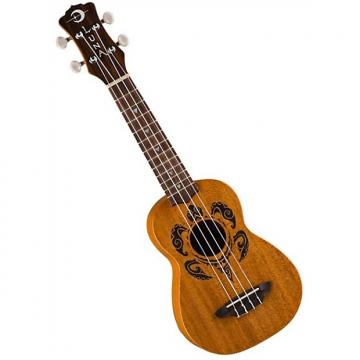 Custom Luna  Uke Honu Tribal Turtle Soprano Satin Natural