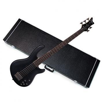Custom DEAN Edge 5 Flame Maple 5-string BASS guitar NEW Trans Black Satin w/ HARD CASE