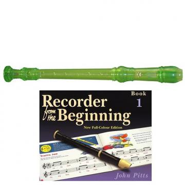 Custom Yamaha  YRS20BG Descant School Recorder Translucent Green With Book 1