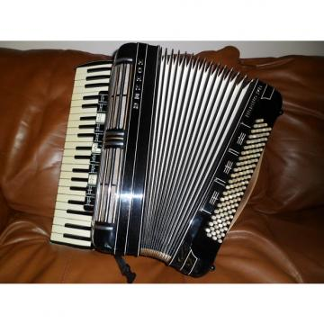 Custom Pristine Black Hohner Morino IV M Accordion, Mint DBL Tone Chamber.