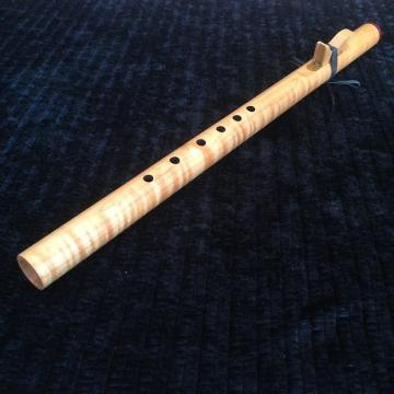 Custom Concert Series Em Native Flute by Butch Hall, premium maple w/brass sound plate, purpleheart cap