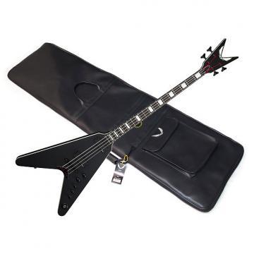 Custom DEAN V Stealth 4-string BASS guitar Satin Black NEW w/ GIG BAG - EMG pickups