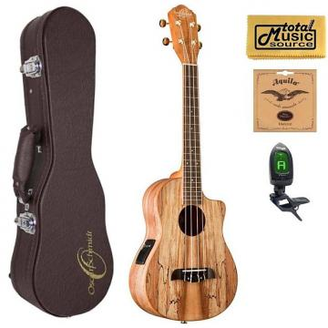 Custom Oscar Schmidt OU8TLCE Acoustic/Electric Tenor Ukulele, Spalted Maple Top,w/Hard Case,Tuner,Strings & PC, OU8TLCE HCASE
