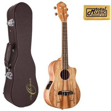 Custom Oscar Schmidt OU8TLCE Spalted Maple Acoustic-Electric Tenor Ukulele w/ Hard Case & PC, OU8TLCE UC4