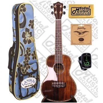 Custom Lanikai NKTU-C Solid Hawaiian Koa Concert TunaUke Ukulele w/Floral Padded Gigbag,Tuner,Strings & PC, NKTU-C COMPFB