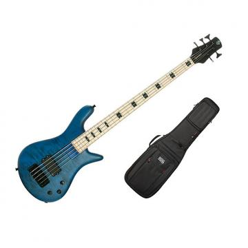 Custom Spector ReBop5 MM Trans Blue Stain Matte - Maple Fingerboard w/Gig Bag