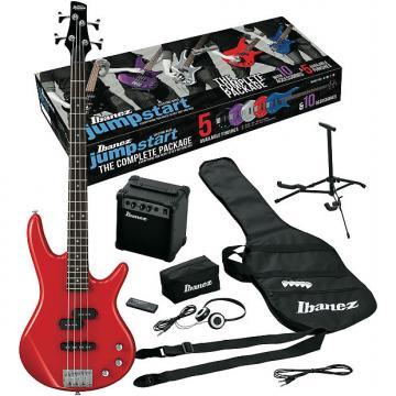 Custom Ibanez IJXB150BRD Jumpstart Electric Bass Package with Red Electric Bass