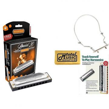 Custom HOHNER Special 20 Harmonica, Key of E, Made in Germany, Case, Book, & Harmonica Holder, 560BL-E COMP