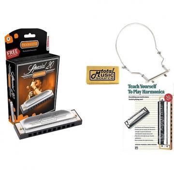 Custom HOHNER Special 20 Harmonica, Key B, Germany, Diatonic, Includes Case, Book, & Harmonica Holder, 560BL-B COMP